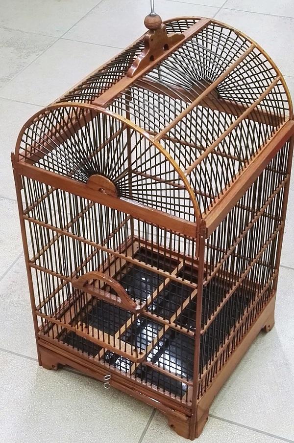 Gabbia in legno antico per uccellini, artigianali, marrone chiaro